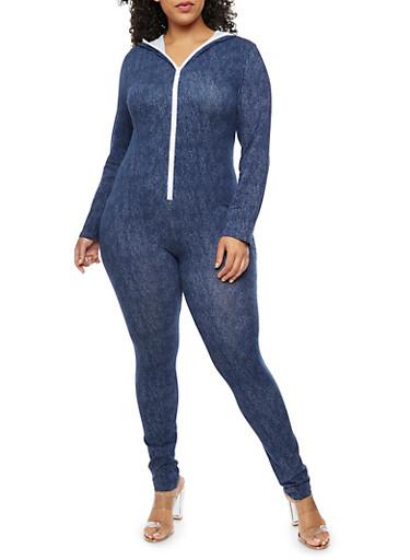 Plus Size Hooded Denim Knit Jumpsuit,BLUE,large