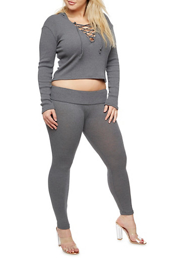 Plus Size Hooded Lace Up Crop Top and Knit Leggings Set,GRAY,large