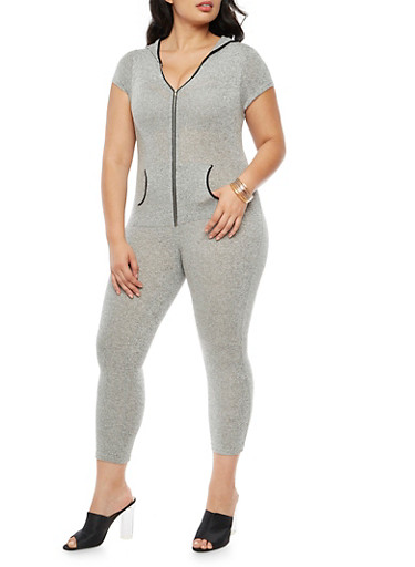 Plus Size Front Zip Hooded Jumpsuit,HEATHER,large