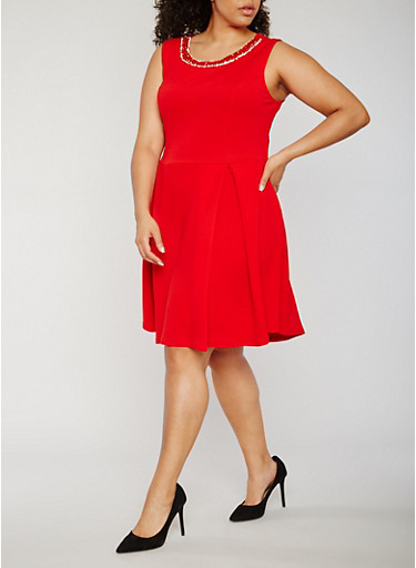 Plus Size Textured Knit Jewel Trim Skater Dress,RED,large