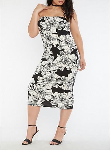 Plus Size Floral Crepe Knit Tube Dress,BLACK/WHITE,large