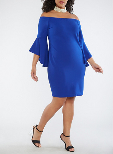 Plus Size Off the Shoulder Bell Sleeve Dress at Rainbow Shops in Daytona Beach, FL | Tuggl