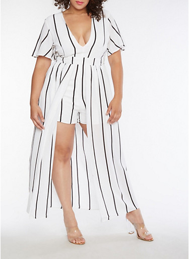 Plus Size Striped Romper with Maxi Skirt Overlay,WHITE BLACK,large