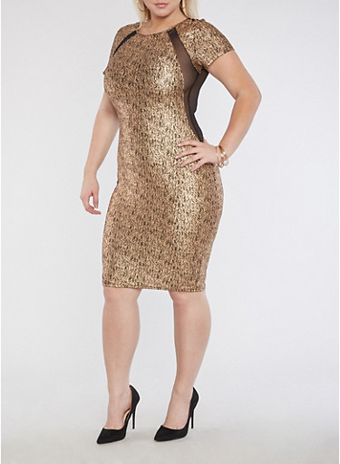 Plus Mesh Lurex Midi Bodycon Dress,GOLD,large