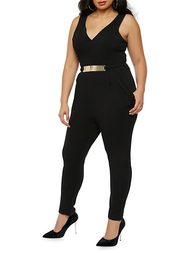 Plus Size Soft Knit Sleeveless Jumpsuit with Metal Bar Belt,BLACK,large