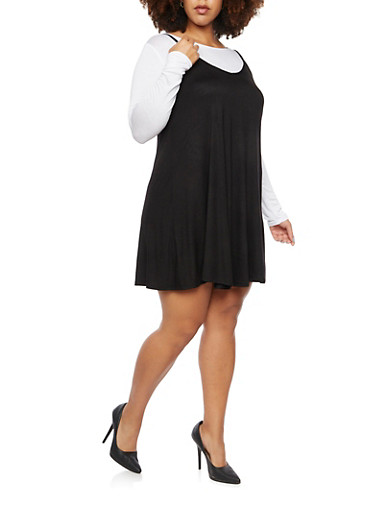 Plus Size Layered Tank Dress with Long Sleeve Top,BLACK/WHITE,large