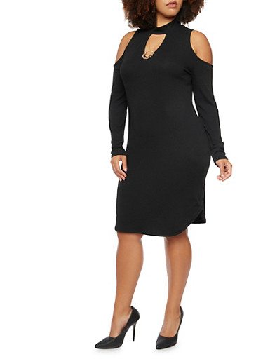 Plus Size Ribbed Cold Shoulder Dress with Necklace,BLACK,large