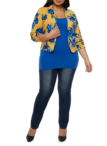 Plus Size Floral Blazer with Open Front,RYL BLUE/MUSTARD,large