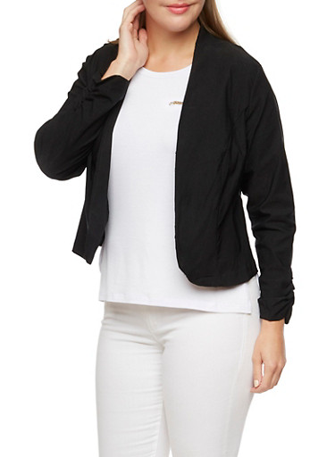 Plus Size Blazer with Ruched Sleeves,BLACK,large