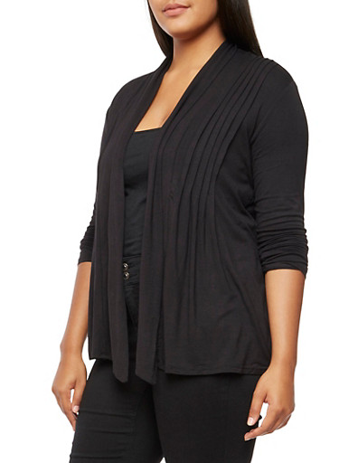 Plus Size Long Sleeve Cardigan,BLACK,large