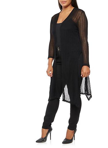 Plus Size Long Side Slit Cardigan,BLACK,large