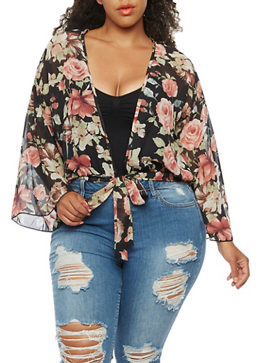 Plus Size Floral Kimono with Bell Sleeves,BLACK MAUVE TAUPE,large