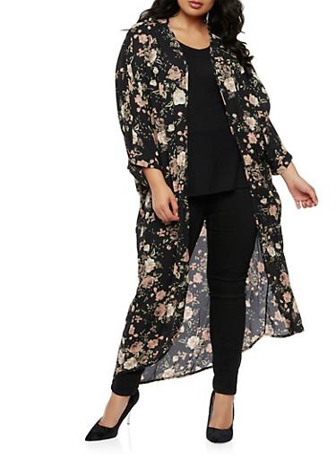 Plus Size Long Floral Kimono,BLACK,large