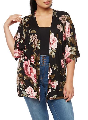 Plus Size Soft Knit Floral Cardigan,BLACK,large