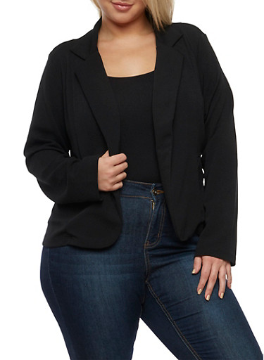 Plus Size Crepe Knit Blazer with Pockets,BLACK,large