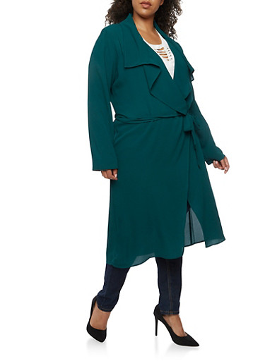 Plus Size Crepe Knit Belted Duster,HUNTER,large