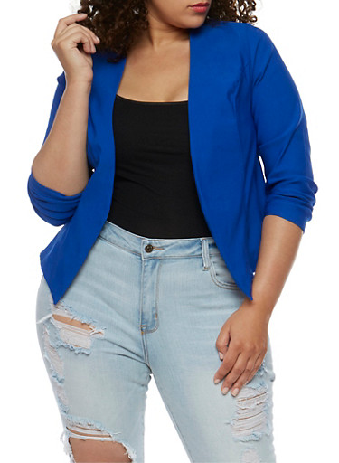 Plus Size Solid Textured Knit Blazer,ROYAL,large
