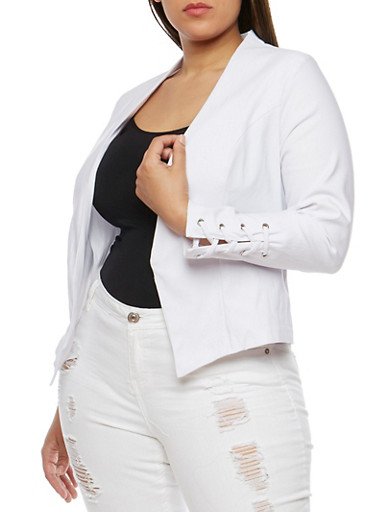 Plus Size Open Front Blazer with Lace Up Sleeves,WHITE,large