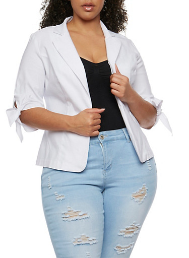 Plus Size Open Front Blazer with Tie Sleeves at Rainbow Shops in Daytona Beach, FL   Tuggl