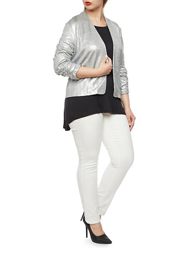 Plus Size Metallic Knit Blazer with Ruched Sleeves,SILVER,large