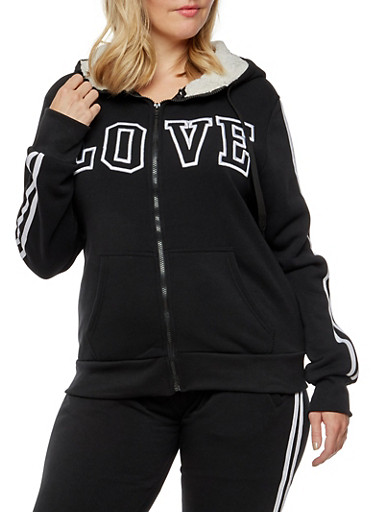 Plus Size Love Graphic Zip Up Sherpa Hoodie,BLACK,large