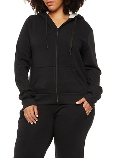 Plus Size Zip Front Sweatshirt with Faux Fur Lined Hood,BLACK,large
