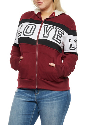Plus Size Love Graphic Zip Up Sherpa Hooded Sweatshirt,BURGUNDY,large