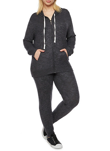 Plus Size Zip Front Hoodie in Plush Knit,BLACK,large