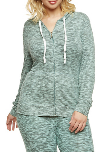 Plus Size Zip Front Hoodie in Plush Knit,GREEN,large