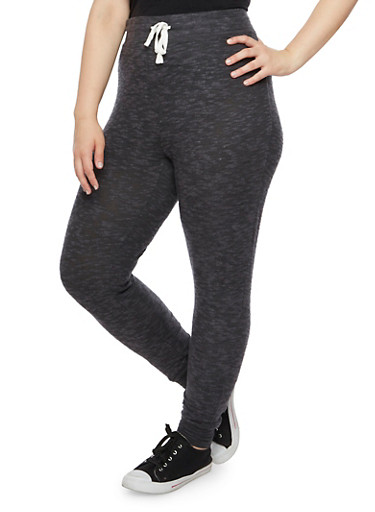 Plus Size Joggers in Plush Knit,BLACK,large