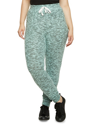 Plus Size Joggers in Plush Knit,GREEN,large