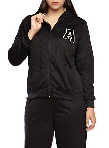 Plus Size Quilted Zip Up Varsity Hoodie with Faux Fur Lined Hood,BLACK,large