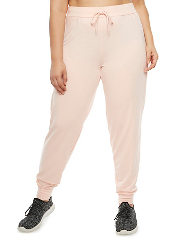 Plus Size Solid French Terry Sweatpants,ROSE,large