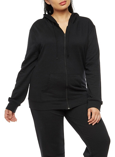Plus Size Zip Front Hooded Top,BLACK,large