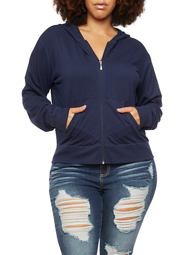 Plus Size Zip Up Hoodie,NAVY,large