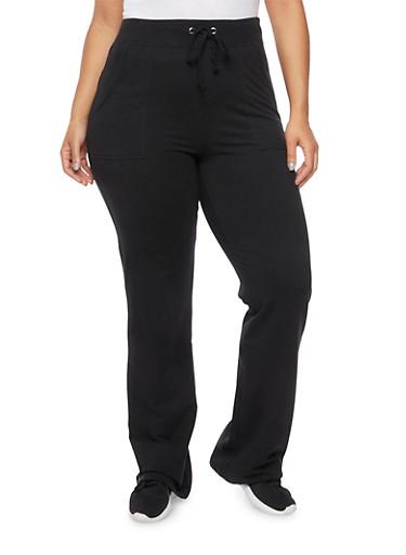 Plus Size Knit Sweatpants,BLACK,large