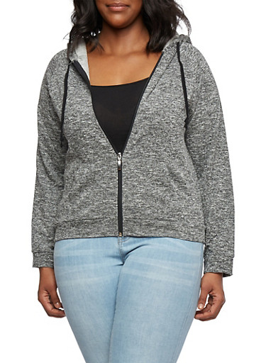 Plus Size Marled French Terry Hoodie,BLACK,large