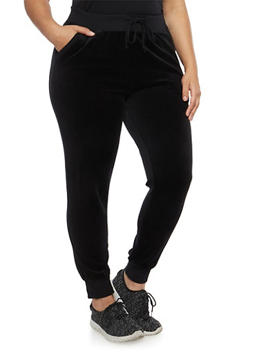 Plus Size Velour Sweatpants,BLACK,large