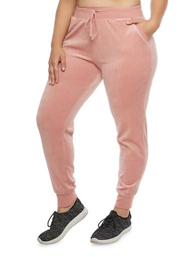 Plus Size Velour Sweatpants,MAUVE,large