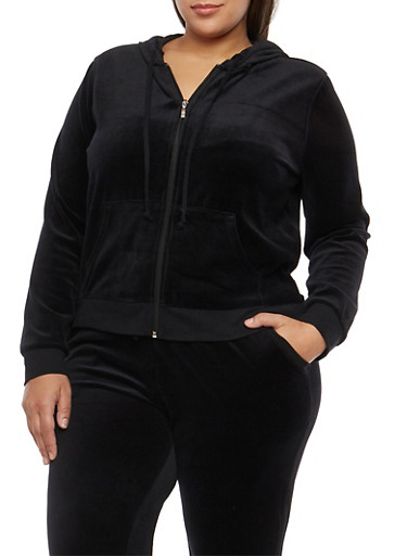 Plus Size Velour Zip Front Hooded Sweatshirt,BLACK,large