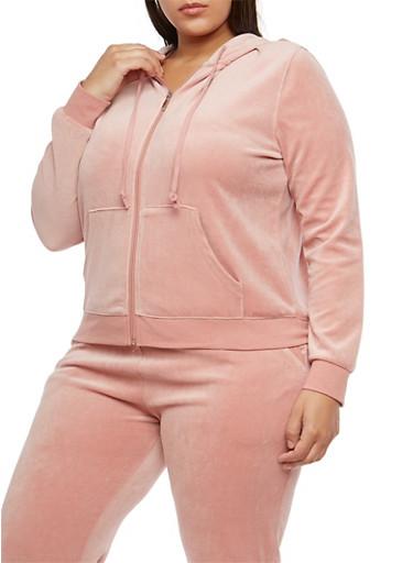 Plus Size Velour Zip Front Hooded Sweatshirt,MAUVE,large