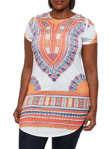 Plus Size Short Sleeve Tunic Top with Dashiki Print,WHITE,large