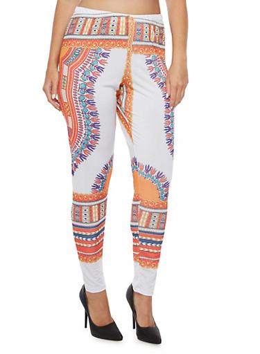 Plus Size Dashiki Print Leggings,WHITE,large