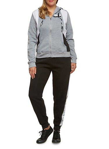 Plus Size Color Block Hoodie with Flawless Arm Graphics,HEATHER/BLACK,large