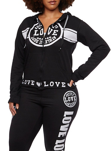 Plus Size Hoodie with Love Graphics,BLACK,large