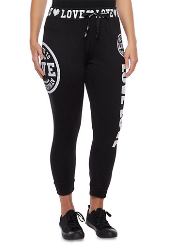 Plus Size Joggers with Love Graphics,BLACK,large