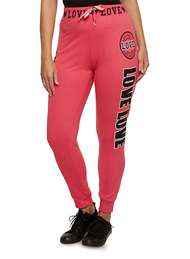 Plus Size Joggers with Love Graphics,FUCHSIA,large
