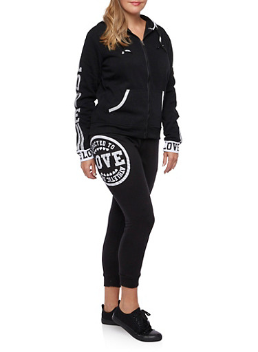 Plus Size Fleece Hoodie with Love Print,BLACK,large