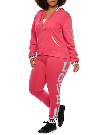 Plus Size Fleece Hoodie with Love Print,FUCHSIA,large