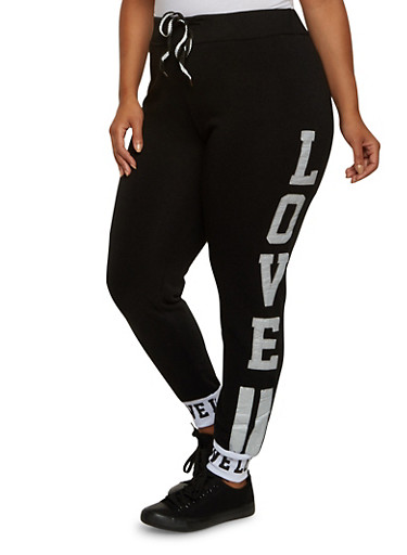 Plus Size Love Patch Joggers,BLACK,large